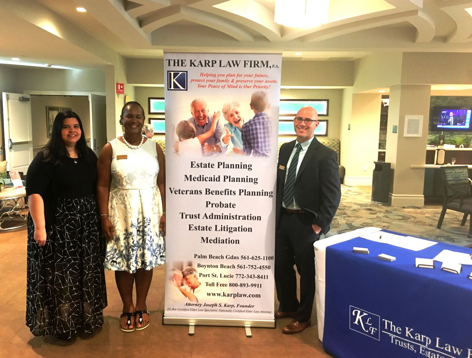 On the scene at HarborChase from The Karp Law Firm are (L-R) Quetxy Pagan, Estate Planning Assistant; Deeanna Farrington, MSW, Case Manager Supervisor; and Attorney Jonathan Karp